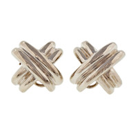 "Vintage 1990 Tiffany & Co ""X"" Silver Clip Post Earrings"