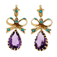 Estate 1940 Turquoise Amethyst Dangle Earrings Bow Top 14k Yellow Gold