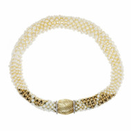 Freshwater Pearl Woven Necklace 14k Yellow Gold