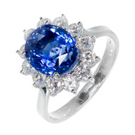 Natural Oval Certified Blue Sapphire Ring 18k White Gold Halo