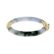 Estate GIA Certified Natural Purple Green Jadeite Jade Bangle Bracelet 14k