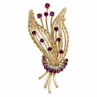 Estate Mid Century Natural No Heat Ruby Spray Pin 14k Yellow Gold Diamond