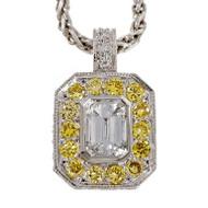 Peter Suchy Emerald Cut Diamond Pendant Fancy Intense Yellow Accents Platinum