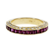 Estate Bright Red Ruby Diamond Wedding Band Ring 18k Yellow Gold