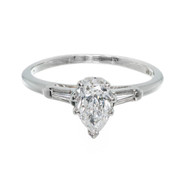 Estate 1960 Pear Shaped Diamond Engagement Ring 14k Baguette Sides