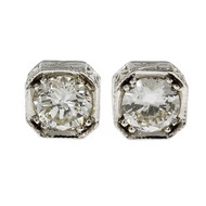 Peter Suchy Eight Sided Engraved 1.35ct Diamond Stud Earrings