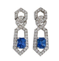 Peter Suchy Octagonal Blue Sapphire Quartz Earrings Platinum Diamond