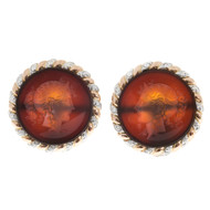 1870S Carved Translucent Carnelian Intaglio 14k Pink Gold Platinum Earrings