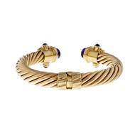 Estate Multi-Color Gemstone Cuff Bracelet Heavy 14k Cuff Bangle