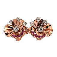 Retro Deco 14k Pink Gold .50ct Pink Sapphire Clip Post Earrings .90ct Diamond