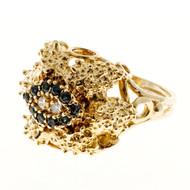 Vitnage Estate Raised Textured Sapphire & Round Diamond Dome Ring Size 7 1/4