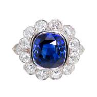 Vivid Royal Blue 5.55ct Sapphire Cushion Platinum Diamond Ring