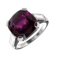 Cartier Pink Purple Pyrope Almandine Garnet Ring Platinum Baguette Diamonds