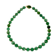 Estate Natural GIA Certified Large Jadeite Jade Bead Necklace 14k Yellow Gold