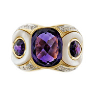Estate Mother Of Pearl Amethyst 18k Yellow Gold Ring Diamond
