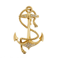 Estate 1960's Diamond Anchor Pin 18k Yellow Gold