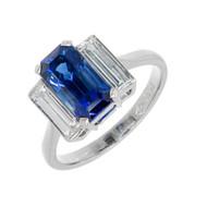 Art Deco 1920 Emerald Cut Sapphire Diamond 3 Stone Ring Platinum Certified
