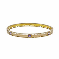 Antique Victorian Krementz 1900 Amethyst Bangle Bracelet 14k Pink Gold Slip On