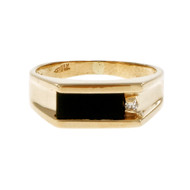 Estate Angular Black Onyx Ring Diamond 14k Yellow Gold