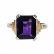 Estate Retro 1940 Amethyst Emerald Cut Ring 14k Pink & White Gold