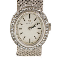 1960's Omega 18k White Gold Mesh Band Ladies Watch Diamond Bezel Manual Wind
