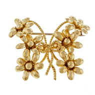 Estate Tiffany & Co Butterfly Daisy Flower Pin 18k Yellow Gold