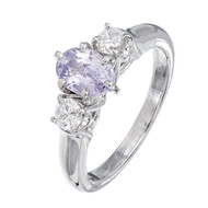 Natural Untreated Purple Pink Oval Sapphire Engagement Ring Platinum Natalie K