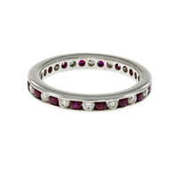 Diamond Ruby OGI Eternity Band Ring 18k White Gold
