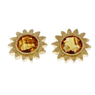 Estate Bielka Citrine Flower Earrings 18k Yellow Gold