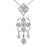 Penny Preville Chandelier Style Diamond Pendant Necklace 18k White Gold