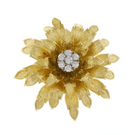 Tiffany & Co Diamond Flower Pin 18k Yellow Gold 3-D Textured