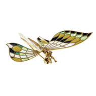 Estate 3-D Butterfly Enamel Pin Movable Wings 18k Yellow Gold