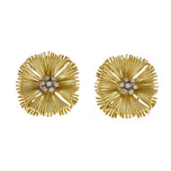 Victorian 1970 Folder Fan Diamond Earrings 18k Yellow Gold