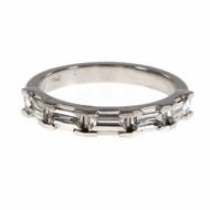 Peter Suchy Step Cut Baguette Diamond Wedding Band Ring  Platinum