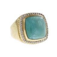 Estate David Yurman Albion Turquoise Diamond Ring 18k Yellow Gold
