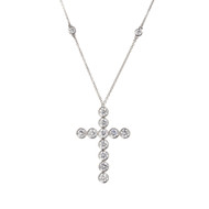 Tiffany & Co. Diamond Platinum Jazz Cross Pendant Necklace