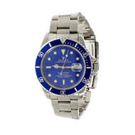 Rolex Steel Submariner 16610 Custom Shiny Blue Dial & Bezel