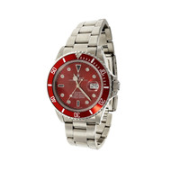 Rolex Steel Submariner 168000 Custom Shiny Red Serti Dial & Bezel