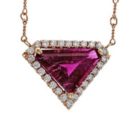 Peter Suchy Diamond Shape Pink Tourmaline Rubelite Diamond Pendant 14k Pink Gold