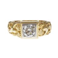 Vintage 1950 Men's Jabel Ring Transitional Cut Diamond 14k Yellow Gold