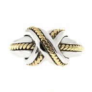 "Tiffany & Co Signature ""X"" Ring Silver and 18k Yellow Gold"