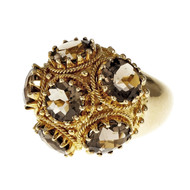 Vintage 1950 Smoky Quartz Domed Cocktail Ring 18k Yellow Gold