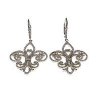 Fleur De Lis Micro Pavé Diamond Earrings 18k White Gold Dangle