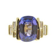 Bright Purple Blue Cushion Tanzanite Ring 18k Yellow Gold Baguette Diamond