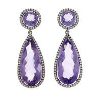 Amethyst Diamond Halo Dangle Earrings 18k Blackened White Gold