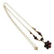 Vintage 1930 Rose Cut Garnet Pendant 10k Yellow Gold