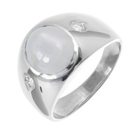 Vintage 1940 Men's Star Sapphire Ring 14k White Gold