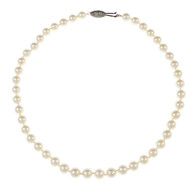 Cultured Pearl Necklace 8 To 8.5mm High Grade 14k White Gold Clasp