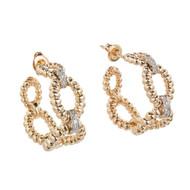 Vintage 1970 Dan Frere Hoop Earrings 14k Yellow Gold Diamond
