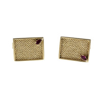 Vintage 1960 Rectangular Textured Cuff Links 14k Yellow Gold Ruby Accents